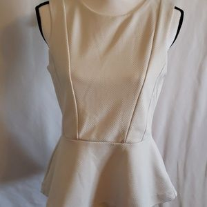 H&M   White Flare Top w/ Zip Up Back